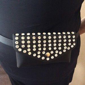 Woman's new rhinestone clutch belt bag